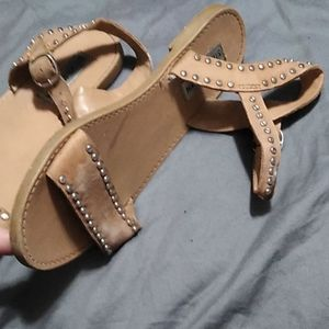 Tan with copper tone rivit strap Sandals size 7.5